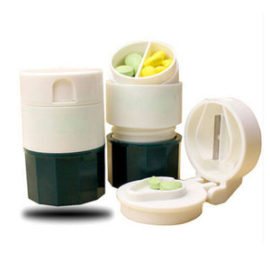 Combo Tablet Pill Crusher  Cutter Pulverizer Powder Crusher Medicine Storage