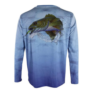 Light blue water textured long sleeve with walleye on back and home run logo on left chest and right arm.