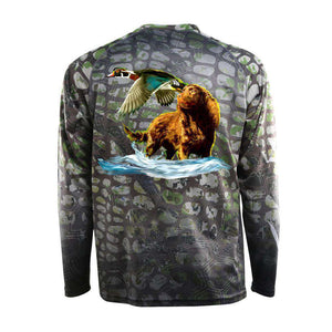 Camo scaled long sleeve with wood duck and American water spaniel on back, home run logo on left chest.