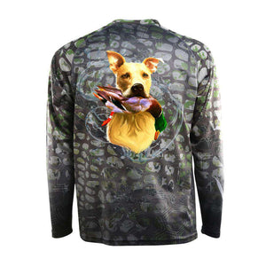 Camo tech long sleeve with golden retriever and mallard on back, home run logo on left chest and American flag on right chest.