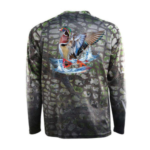 Camo tech long sleeve with wood duck and red tails on back, home run logo on left chest and American flag on right chest.