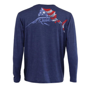 Dark blue long sleeve with American flag sailfish on back, home run logo on left chest and right arm.