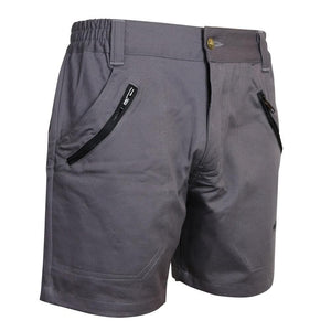 Gray fishing shorts with expandable waist and zipping pockets, home run logo on bottom left.