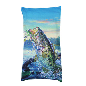Neck gaiter with bass and lake scene.