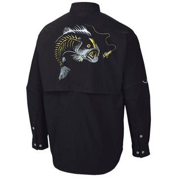 black pfg Colombia style long sleep shirt-has a large mouth bass custom artist drawn design on the back-the bass is swalling a lure-with the lure line running up the top of the shirt just underneath the back of the collar