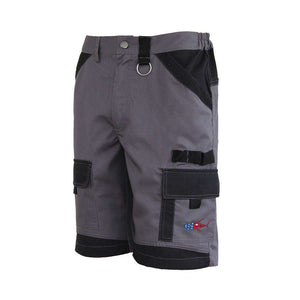 Gray island beverage pocket shorts, home run logo on bottom left pocket.