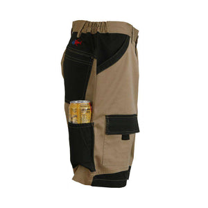 Khaki island beverage pocket shorts, home run logo on bottom left pocket.