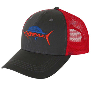 gray and red trucker hat with sailfish home run logo on front and logo on back