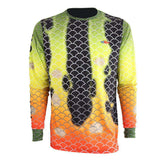 pure performance peacock bass long sleeve gill pattern with logo on left chest, down right arm