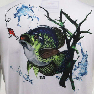 White short sleeve crappie on back, home run logo on left chest