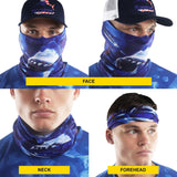 Neck gaiter with shark. Dark Blue