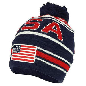 usa beanie with embroidered flag on front ball on top