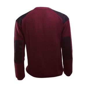 Maroon knit sweater black shoulders and elbows with logo on left chest