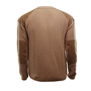 Khaki knit sweater with logo on left chest