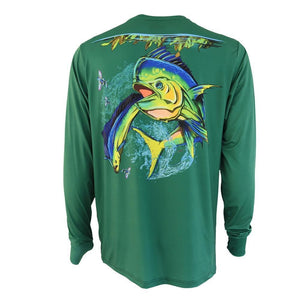 50 UV soft green long sleeve performance fishing shirt with mahi on back and home run logo on left chest, thumb slits on sleeve.