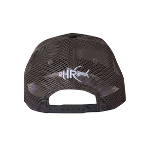 gray trucker hat with sailfish home run logo on front and logo on back