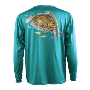 50 UV long sleeve teal performance fishing shirt with large flounder on back and Home Run logo on left chest.