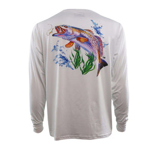 white long sleeve with trout on back and logo on left chest