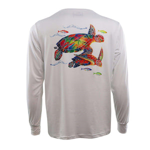 White long sleeve sea turtle on back, home run logo on left chest.
