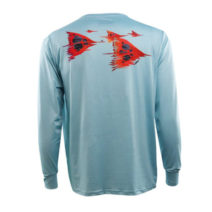 50 UV light blue long sleeve performance fishing shirt with redfish tails on back, home run logo on left chest.