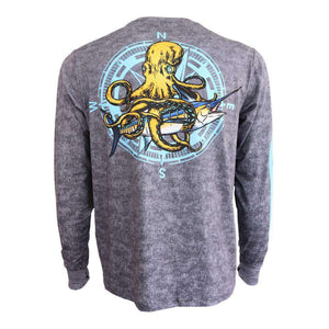 50 UV long sleeve gray and black textured performance fishing shirt with kraken and swordfish on back, Home Run logo on left chest and down right arm.