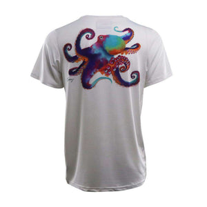 white youth short sleeve with octopus on back logo left chest