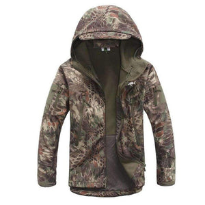 Camo hooded zip up jacket, home run logo on left chest.