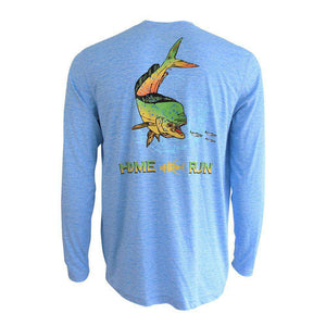 50 UV light blue textured long sleeve performance fishing shirt with mahi and home run logo on back and home run logo on left chest.