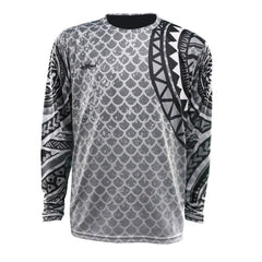 black and white polynesian gill pattern long sleeve logo on right chest