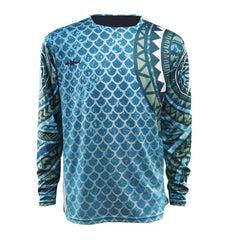 polynesian blue gill pattern long sleeve logo on right chest