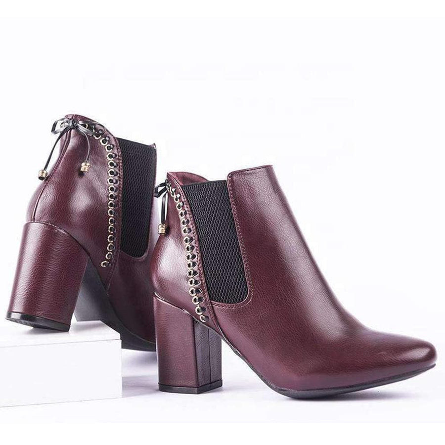 NEW LOOK BURGUNDY ANKLE BOOTS