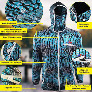 predator X hydro repellant blue scale hoodie with logo on left chest sailfish on back