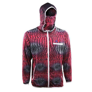 predator X hydro repellant red scale hoodie with logo on left chest redfish on back