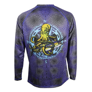 50 UV purple and gray scaled long sleeve performance fishing shirt with kraken and swordfish on back, home run logo on left chest, breathable material under arms.
