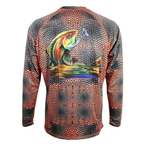 50 UV red and gray scaled long sleeve performance fishing shirt with red fish on back, home run logo on left chest, breathable material under arms.