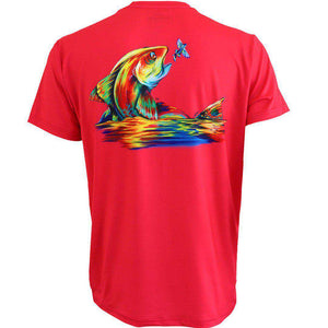 50 UV coral short sleeve performance fishing shirt with redfish on back and home run logo on left chest.