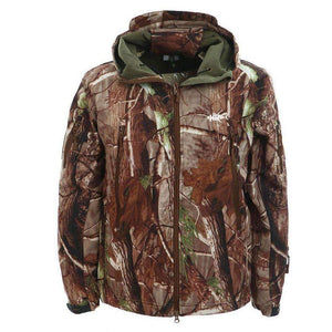 soft shell hunting jacket-deep marsh style camaoflauge pattern- deep padding surrounded by Ripstock waterproof material-easy access pockets on the chest and sides-brown zipper-greened soft padded material in the hoodie-home run logo over the heart