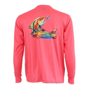 50 UV hot pink long sleeve performance fishing shirt with redfish on back and homerun logo on left chest.