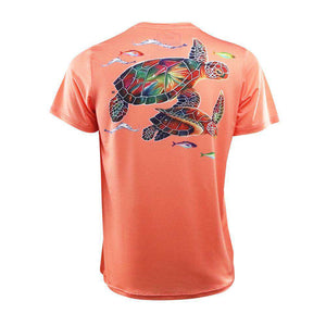 salmon youth short sleeve sea turtle on back logo left chest