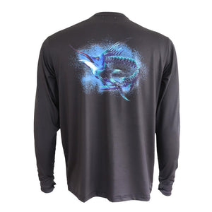 50 UV Sun Protection Marlin Skeleton Performance Fishing Shirt