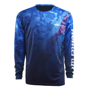 Blue long sleeve with American flag water texture, home run logo on left chest and left arm.