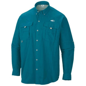 50 UV Azure long sleeve button down performance fishing shirt with Home Run logo on left chest and double chest pockets.