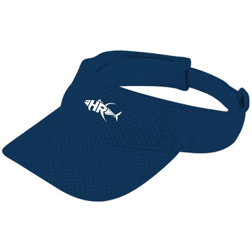 Navy Fish and Land Mesh Fishing Visor - Apparel by Home Run- adjustable velcro stap on the back-classic sun protective visor-Home Run Logo embroidered on the front