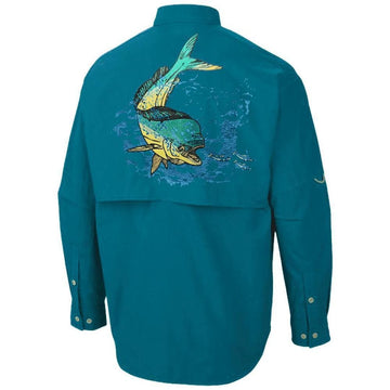azure blue Colombia style pfg long sleeve shirt-a large mahi or dolphin fish is embroidered on the back with its classic potruding blue head and goldenish yellow lower body-the mahi is ontop of an ocean embroidered background-has the Home Run Logo on the front over your heart