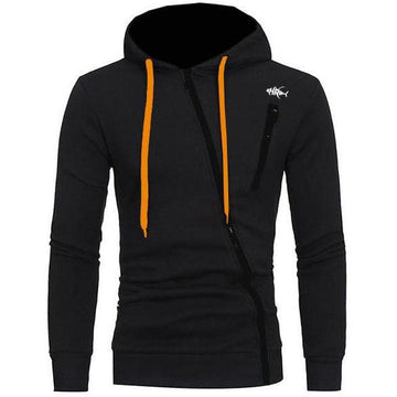 black hoodie-diaganal zipper across the front-long orange drawstrings by the hood-upper left chest pocket with the logo embroidered just above it-soft silky material for comfort