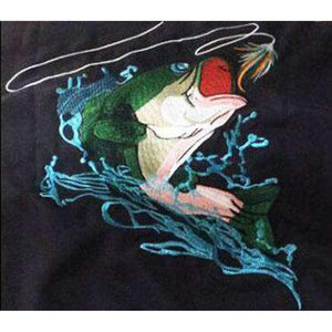 50 UV Embroidered Button Down Bass Fishing Shirt