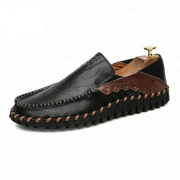 BLACK MENS LEATHER CASUAL SHOES