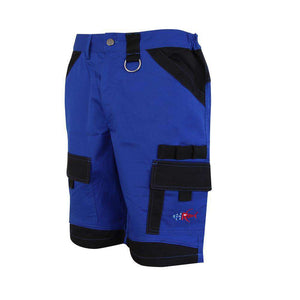 Blue island beverage pocket shorts, home run logo on bottom left pocket.