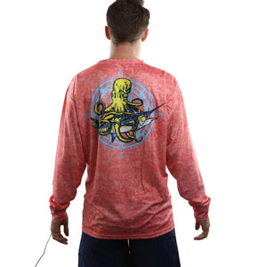 50 UV salmon/pink textured long sleeve performance fishing shirt with kraken and swordfish on back and home run logo on left chest.