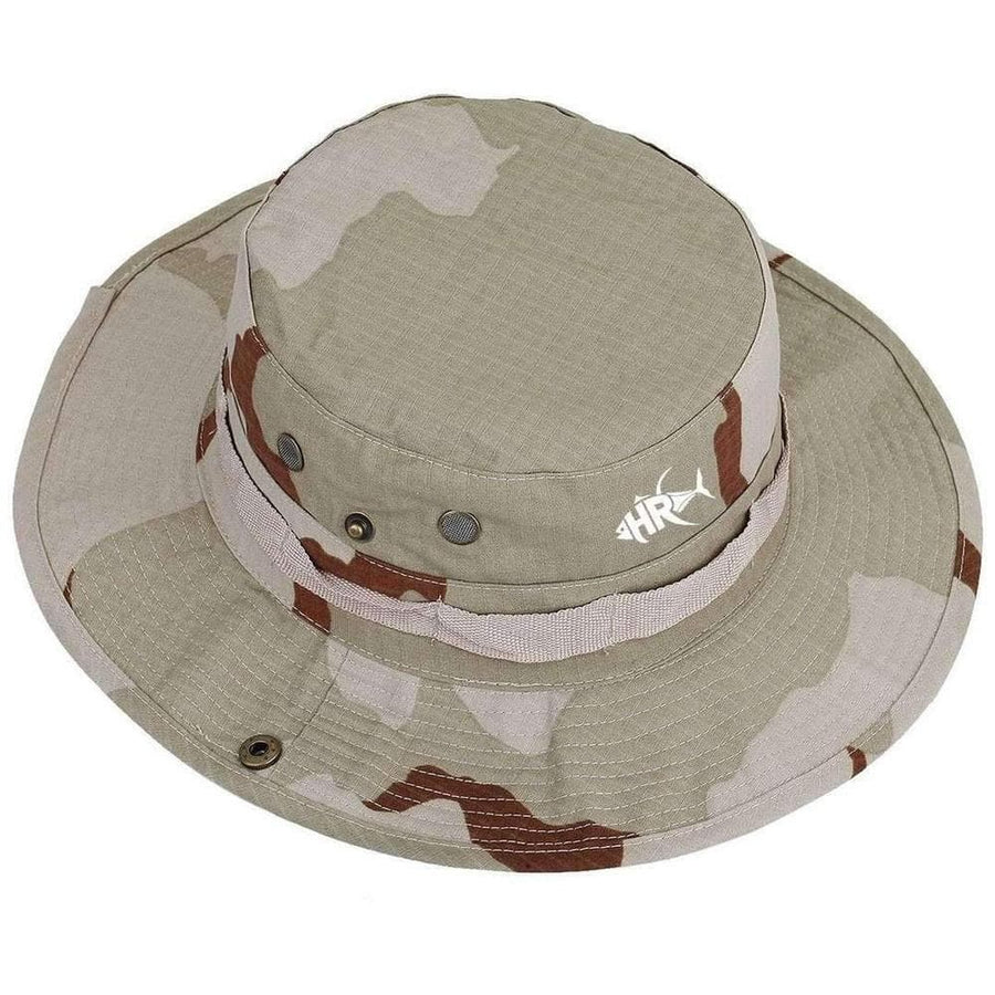 desert military patterned boonie hat-logo embroidered on the front-long 360 degree covering bill that wraps around the head with a flat safari style top